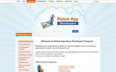 Screenshot of Developers Page robotappstore.com - Robot App Store | Developers Program | - captured June 16, 2015