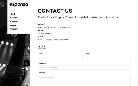 Screenshot of Contact Page espansa.com - Contact - Espansa - captured July 15, 2016