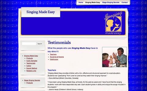 Screenshot of Testimonials Page singingmadeasy.com - Testimonials - Singing Made Easy - captured Oct. 26, 2014