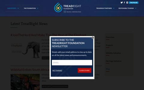 Screenshot of Blog treadright.org - Latest TreadRight News | Treadright Foundation - captured Feb. 16, 2016