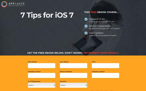 Screenshot of Landing Page applause.com - 7 Tips for iOS 7 - Applause: 360° App Quality - captured June 3, 2018