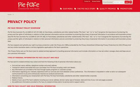 Screenshot of Privacy Page pieface.com.au - Pie Face | Privacy Policy - captured July 18, 2018