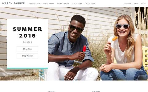 Screenshot of Home Page warbyparker.com - Online Eyeglasses & Sunglasses – Rx Glasses   Warby Parker - captured April 23, 2016