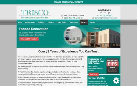 Screenshot of Jobs Page triscoservices.com - Careers at Trisco Construction Services - captured Dec. 17, 2016