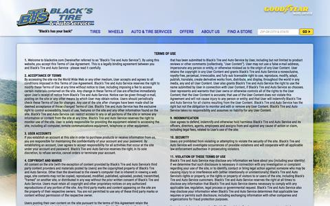 Screenshot of Terms Page blackstire.com - Terms of Use and Conditions | Blacks Tire and Auto Service - captured June 1, 2017
