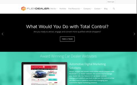 Screenshot of Home Page flexdealer.com - Car Dealer Websites | Automotive SEO | Mobile sites | - captured Oct. 6, 2014