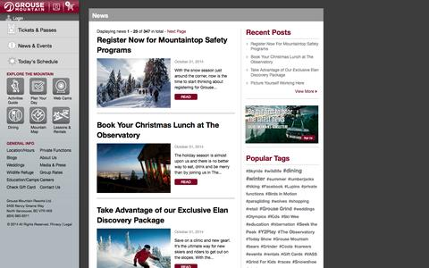 Screenshot of Press Page grousemountain.com - Grouse Mountain - The Peak of Vancouver - captured Nov. 4, 2014