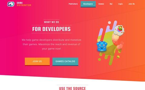 Screenshot of Developers Page gamedistribution.com - HTML5 Game Develper - Distribute through Gamedistribution! - captured Oct. 9, 2017