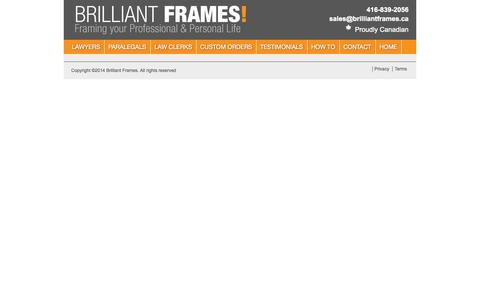 Screenshot of Terms Page brilliantframes.ca - Terms | - captured Oct. 5, 2014