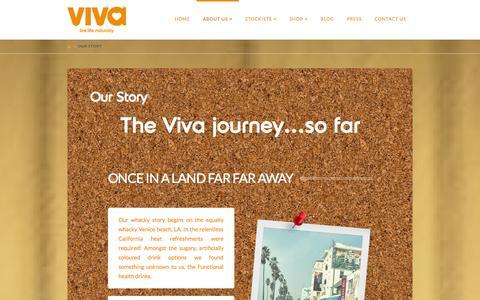 Screenshot of About Page vivadrinks.com - Our Story | Natural Functional Drinks - VIVA - captured Nov. 5, 2014
