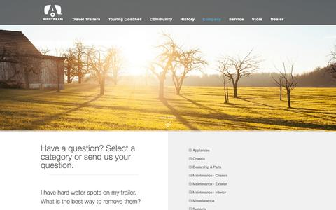 Screenshot of FAQ Page airstream.com - Frequently Asked Questions | Airstream - captured Sept. 19, 2014