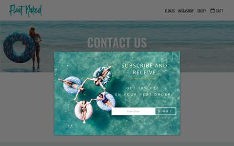 Screenshot of Contact Page floatnaked.com - CONTACT US - FLOAT NAKED - Float Naked - captured July 7, 2018