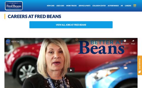Screenshot of Jobs Page fredbeans.com - Careers at Fred Beans - Fred Beans - captured Dec. 19, 2018