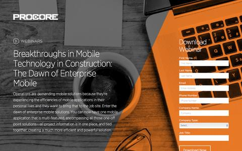 Screenshot of Landing Page procore.com - Breakthroughs in Mobile Technology in Construction: The Dawn of Enterprise Mobile - captured March 15, 2016