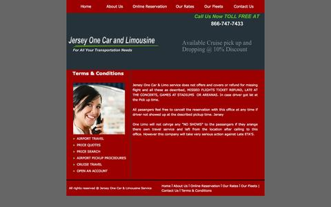 Screenshot of Terms Page jerseyonelimo.com - Contact for New Jersey Limousine Services, Wedding limousine services - captured June 19, 2016