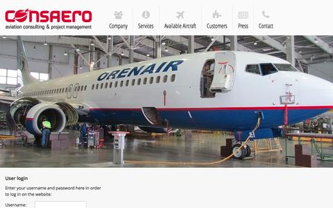 Screenshot of Login Page consaero.com - Login | CONSAERO | Aircraft trading | Aviation consulting | Projekt management - captured Jan. 23, 2016