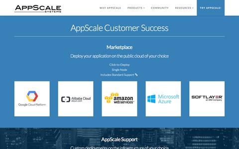 Screenshot of Products Page appscale.com - AppScale Customer Success - captured Nov. 21, 2016