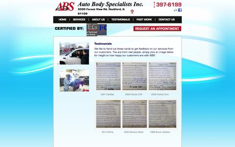 Screenshot of Testimonials Page autobodyspecialistsinc.net - Auto Body Specialists Collision Repair Testimonial Page | ABS - captured Oct. 4, 2014