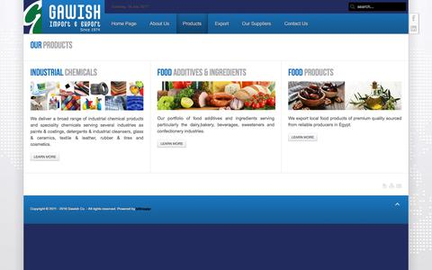 Screenshot of Products Page gawish.org - Products - captured July 18, 2017