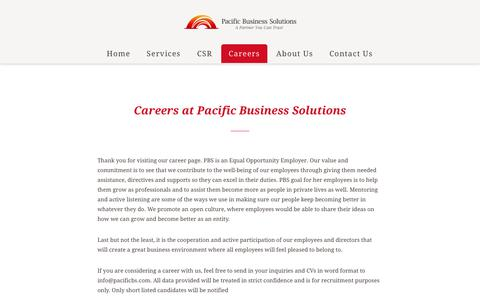 Screenshot of Jobs Page pacificbs.com - Careers – Leading bpo services provider in Japan   日本におけるトップクラスの BPOサービスプロバイダー   Pacific Business Solutions - captured Sept. 26, 2018