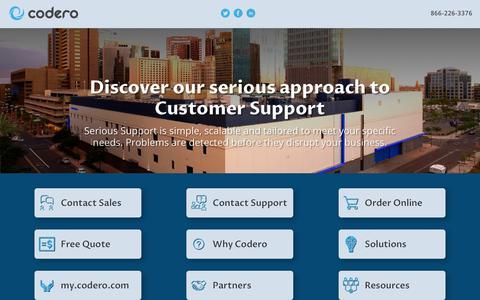 Screenshot of Home Page codero.com - Codero | IT Service Management - captured Feb. 17, 2020