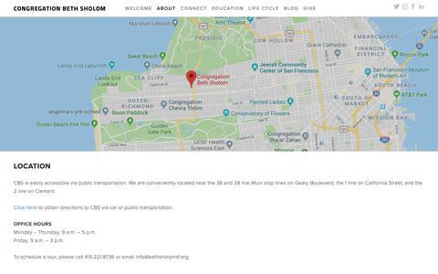 Screenshot of Maps & Directions Page bethsholomsf.org - Location — Congregation Beth Sholom - captured Sept. 29, 2018