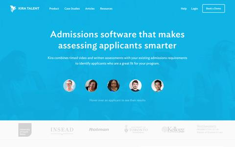 Screenshot of Home Page kiratalent.com - Kira Talent - Admissions software that makes assessing applicants smarter - captured May 13, 2017