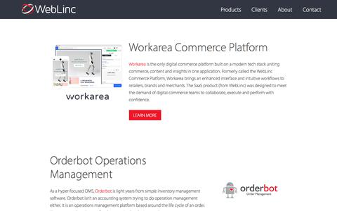 Screenshot of Products Page weblinc.com - Commerce Solutions - WebLinc Commerce - captured Oct. 27, 2017