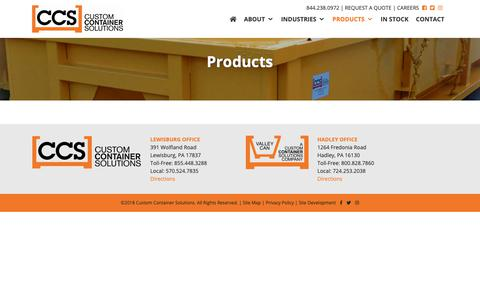 Screenshot of Products Page customcontainersolutions.com - Products | Custom Container Solutions - captured Nov. 5, 2018