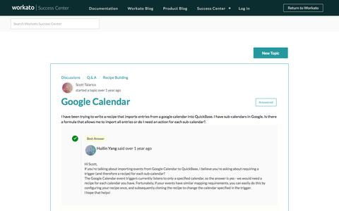 Screenshot of Support Page workato.com - Google Calendar : Workato Success Center - captured March 29, 2018
