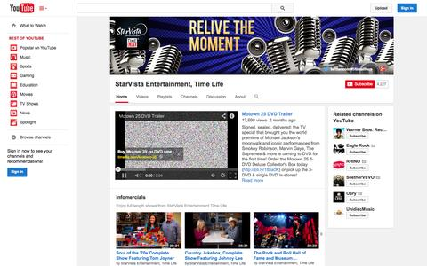 Screenshot of YouTube Page youtube.com - StarVista Entertainment, Time Life  - YouTube - captured Oct. 23, 2014