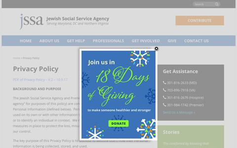 Screenshot of Privacy Page jssa.org - Privacy Policy | Jewish Social Service Agency (JSSA) - captured Dec. 20, 2018