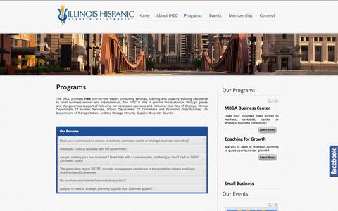 Screenshot of Services Page ihccbusiness.net - Programs - Illinois Hispanic Chamber of Commerce - captured Oct. 6, 2014
