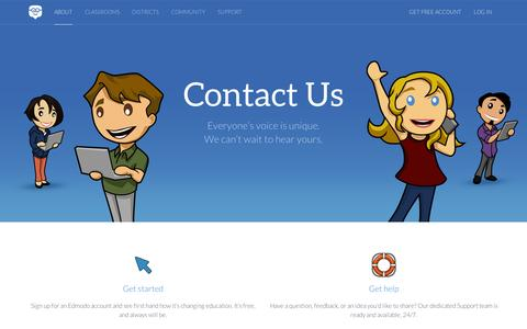 Screenshot of Contact Page edmodo.com - Edmodo | Connecting learners with the people and resources needed to reach their full potential | Where education meets innovation - captured Sept. 11, 2014
