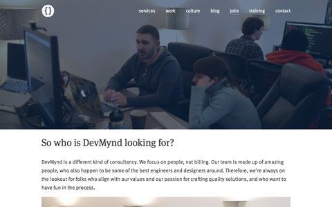 Screenshot of Jobs Page devmynd.com - DevMynd - working at devmynd - captured Sept. 19, 2014