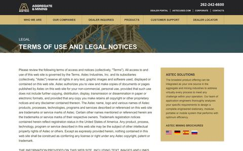 Screenshot of Terms Page astecworld.com - Terms of Use and Legal Notices - ASTEC - captured Feb. 5, 2016