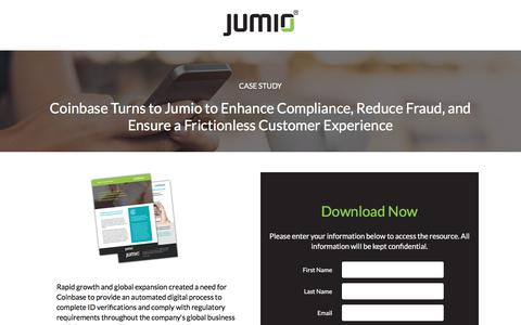 Screenshot of Landing Page jumio.com - Coinbase Turns to Jumio to Enhance Compliance, Reduce Fraud, and Ensure a Frictionless Customer Experience - captured April 1, 2018