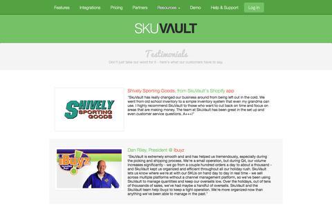 Screenshot of Testimonials Page skuvault.com - SkuVault Warehouse Management System · Testimonials - captured Nov. 4, 2014