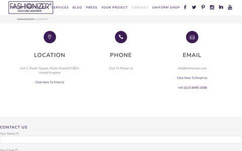 Screenshot of Contact Page fashionizer.com - Contact Us   Fashionizer Couture Uniforms - captured Jan. 10, 2018
