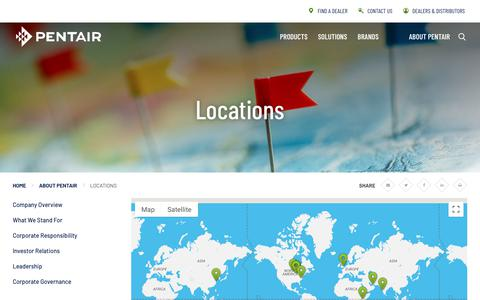 Screenshot of Locations Page pentair.com - Locations | About Pentair | Pentair - captured Sept. 23, 2019