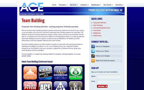 Screenshot of Services Page acetraining.com.au - Team Building Sessions and Programs | A.C.E. - captured Nov. 16, 2016
