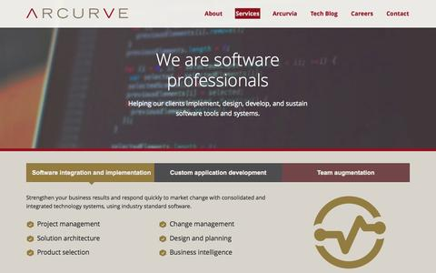 Screenshot of Services Page arcurve.com - Custom Apps for IOS/Android, Windows/Mac & Web | Arcurve - captured Oct. 2, 2015