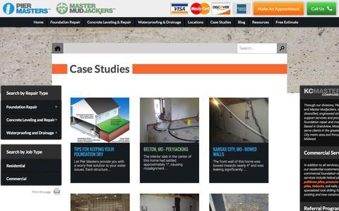 Screenshot of Case Studies Page kcmaster.com - Foundation Repair Kansas City | Case Studies - captured Feb. 12, 2016