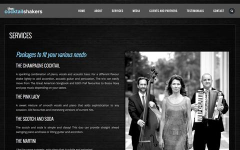 Screenshot of Services Page thecocktailshakersband.com - The Cocktail Shakers |   Services - captured Feb. 25, 2016