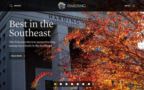 Screenshot of Home Page harding.edu - Harding - Home - captured Oct. 14, 2015
