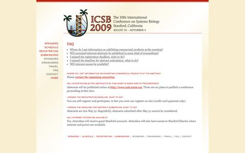 Screenshot of FAQ Page icsb-2009.org - FAQ | ICSB 2009 | The 10th International Conference on Systems Biology - captured Feb. 9, 2017