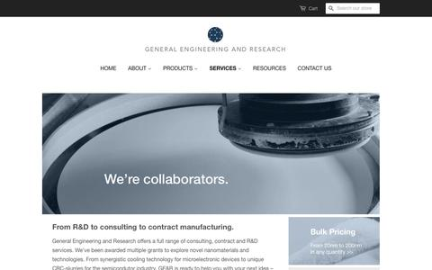 Screenshot of Services Page geandr.com - Services – General Engineering & Research - captured Nov. 4, 2016