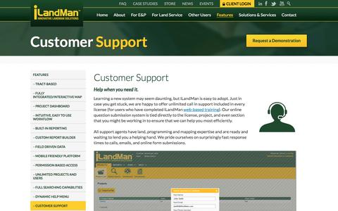 Screenshot of Support Page ilandman.com - Our Customer Support Team is Ready and Waiting to Help - captured Aug. 6, 2016