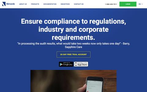 Screenshot of Home Page nimonik.com - Nimonik Safety, Quality and Env Audit and Legal Compliance - captured Feb. 28, 2016