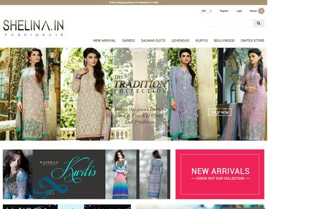 Screenshot of Home Page shelina.in - Online Shopping Womens Clothes: Shop Online for Sarees, Kurtis and More – Shelina.in - captured Oct. 9, 2015